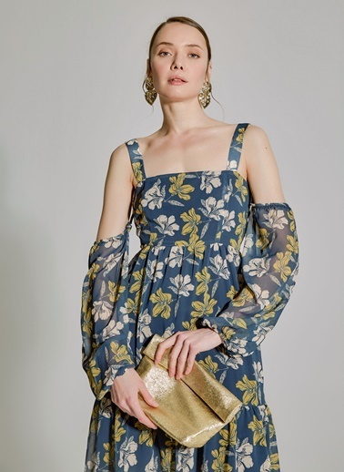 People By Fabrika Desenli Kol Detaylı Elbise Mavi